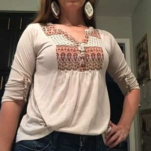 Hem & Thread 3/4 Sleeve Boho Shirt